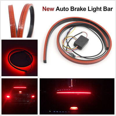 100cm Flexible Autos Tail Light Rear Dynamic Streamer Flowing Brake LED Lamp Red