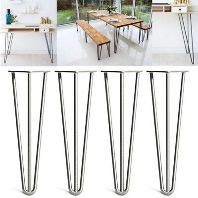 4 X Hairpin Legs Hair Pin Set For Furniture Bench Desk Table In Steel