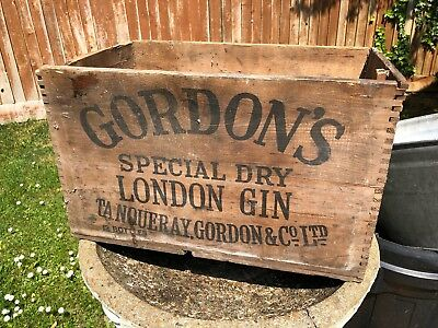 Antique Vintage Old Wooden Gordons Gin Crate Box Film Studio Display Man cave
