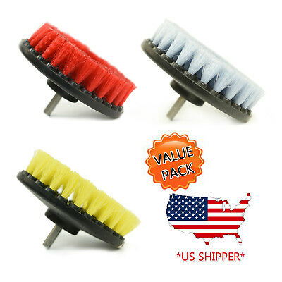 (3-Pack) 5 inch drill brush combo (Soft, Medium, Heavy) car care wall tile clean