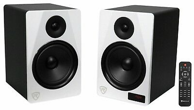 "Rockville HTS8W Pair 8"" 1000W Powered Home Theater Speakers Bluetooth/FM/USB/SD"
