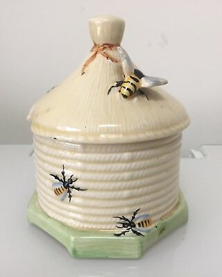 VINTAGE CROWN DEVON HONEY POT AND LID DECORATED WITH BEES 1930s Art Deco
