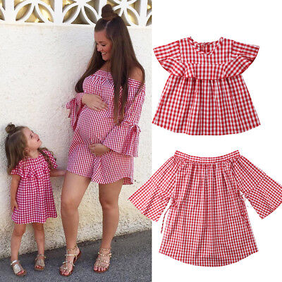 Mommy and Me Family Matching Dress Mother Daughter Plaid Sundress for Kid Women