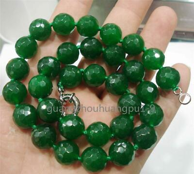 """New 12mm Natural Emerald Faceted gemstone Beads Necklace 18"""""""