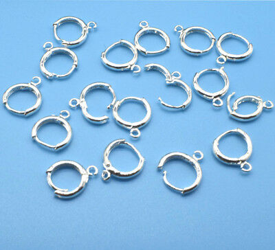 Wholesale 10Pcs Jewelry Finding Silver Earring Round buckle For Crystal Hook