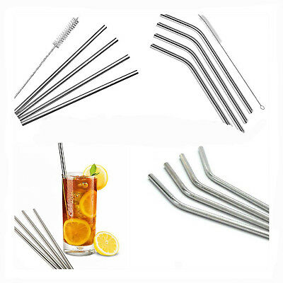 4 X Metal Stainless Steel Drinks Straw Reusable For All Parties & Straw Cleaner