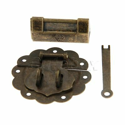 Retro Bronze Padlock Decorative Wooden Chest Jewelry Box Hasp Latch Catch Set