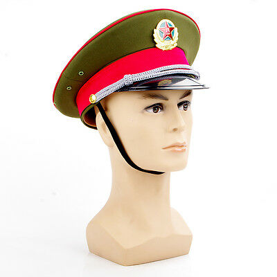 23inch Visor Hat Military Officer Captain's Army Cap&badge Chinese Communist