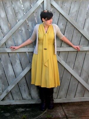 YELLOW 1940's CREPE PUSSY BOW DRESS SAILOR NECK