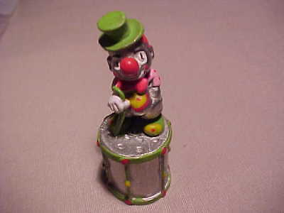 Vintage Sewing Pewter Thimble Drum With Clown On Top