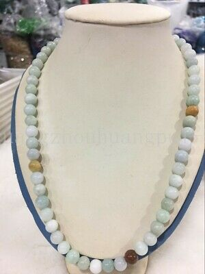 """100% Natural Untreated """"A"""" Beautiful Chinese Jadeite Jade Beads Necklace 8mm AA+"""