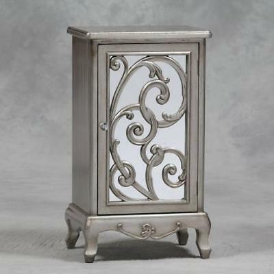 Telephone Lamp Bedside Cabinet Table Ornate Carved Silver Champagne Mirror Front