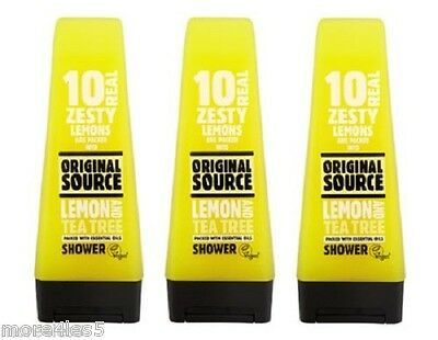 3 x Original Source LEMON & TEA TREE Shower Gel 250ml Natural Fragrance New