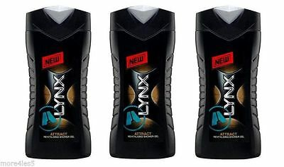 3 x Lynx ATTRACT for Him Body Wash Shower Gel 250ml New