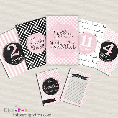 Baby Girl Milestone Cards, Milestone and Moments cards Pink polkadot 26 card set