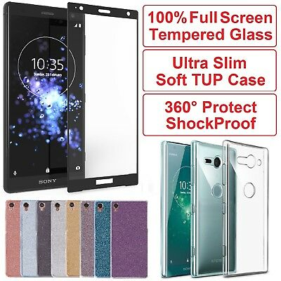 Full Tempered Glass Screen Protector +Gel Case Cover for Sony Xperia XA1 XA2 XZ2