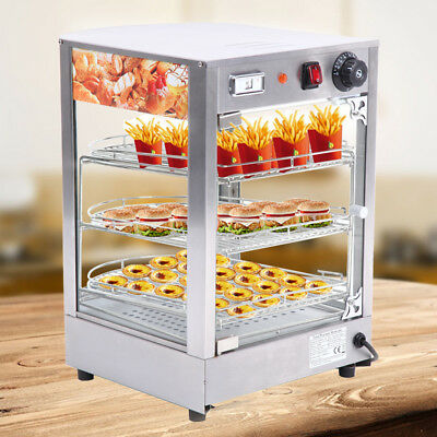Commercial Pie Food Warmer Hot Display Showcase Cabinet 3-layer Stainless Steel