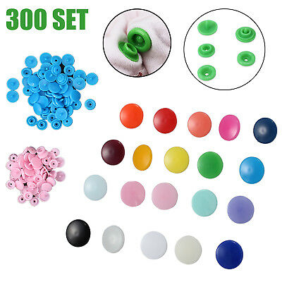 KAM Snap Kits Size 20 T5 Plastic Snaps Fastener Buttons Press Stud Set 300 Sets