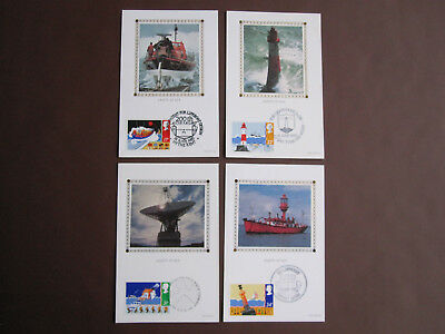GB 1985 Safety at Sea set on 4 Benham Silk cards - different cancels