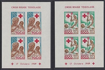 Togo 1959 Red Cross mini sheets lhm