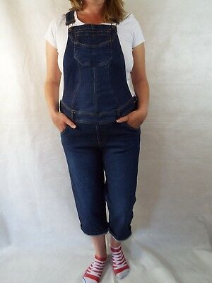 Maternity Dungarees Size 12/14 L22 Denim Blue Jumpsuit Overalls L Stretch Crop