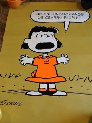 PEANUTS LUCY Nobody understand crabby people VINTAGE POSTER PRINT CHARLES SCHULZ