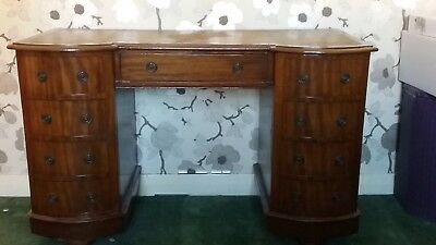 lovely antique twin pedestal desk with unusual curved doors