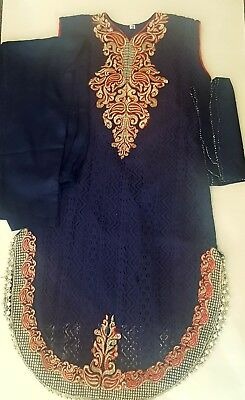 Indian Pakistani Girls party wedding Eid net  Salwar kameez Trouser suit size 28