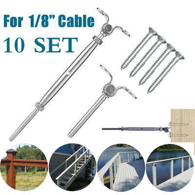 """T316 Stainless Steel Tensioner Set Cable Railing w/Deck Toggle - 1/8"""" + Screws"""
