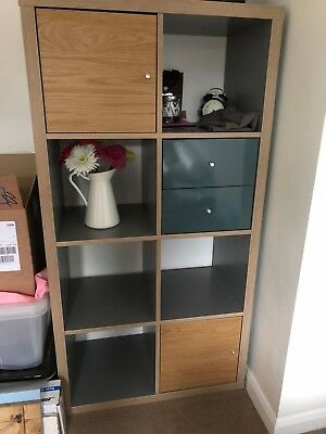 size 40 69990 ae29c GREY / WOOD Ikea Kallax Storage Shelving Unit 2x4 In Excellent Condition