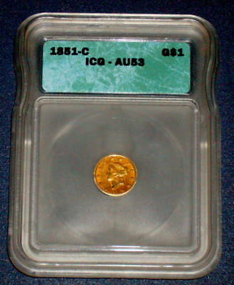 ICG 1851 c CHARLOTTE GOLD AU 53 Certified $1 One DOLLAR U.S. Branch Mint Coin
