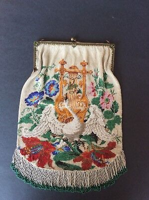 Micro Beaded Antique Vintage Purse With Golden Lyre Swan And Flowers