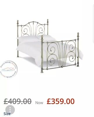 Antique Style Black Metal and Brass Bedstead