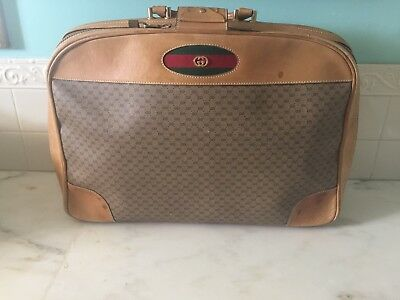 Authentic Vintage GUCCI SUITCASE - Brown Leather/GG Monogram Luggage Travel Bag