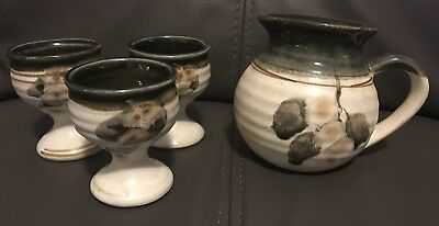 Vintage Old Ballarat Pottery Stoneware Small Jug And 3 Goblets