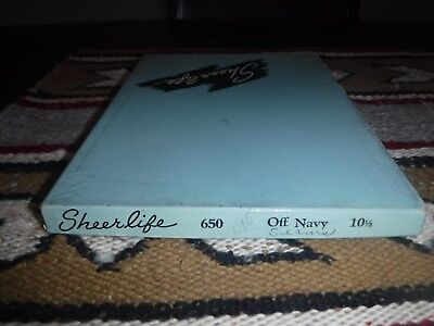 """Vintage 3 Pair  Nos Sheer Life Seamed Stockings Sz 10.5 Color Off Navy """"31"""""""