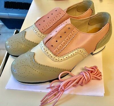 ❤️Oxford Tap Dance Shoes ~ Leather ~ Pink Gray White ~ Size 8½  New Charleston❤️