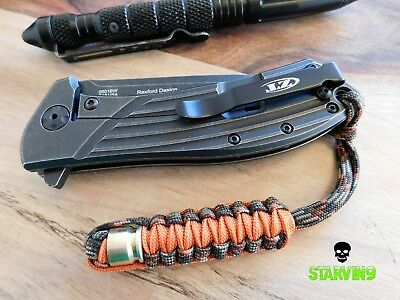 Paracord knife lanyard- Fall camo -fits zero tolerance ,Kizer,CRKT &spyderco