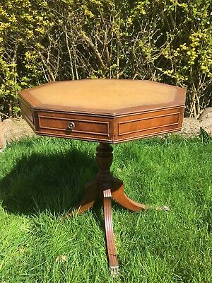 Vintage Bevan Funnell Ltd Reprodux Solid Wood Drum Table in Regency Style