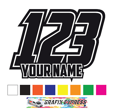 3 x Custom Race Numbers And Name Stickers Motocross Kart Decals MX Dirt Bike