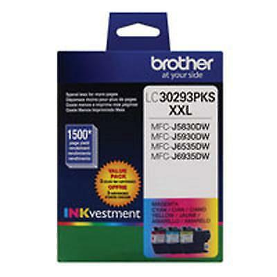 Brother LC30293PK INKvestment 3Pk 1500 Pages C/M/Y Super High-Yield Ink Cartridg