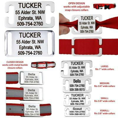 Slide-On Pet Id Tags. Personalized Dog  Cat Tags. Silent, No Noise Collar Tags