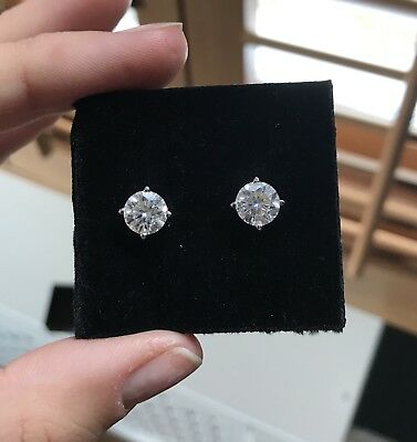 Charles And Colvard Forever One DEF colourless H&A 3.20 Carat Studs Earrings