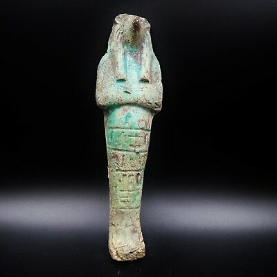 Fine Ancient Egyptian Faience Ushabti (Shabti) Statue Figure, 1292-1069 BC