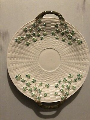 EARLY BELLEEK PORCELAIN SHAMROCK CAKE PLATE (2nd Black Mark) c.1891 - 1926