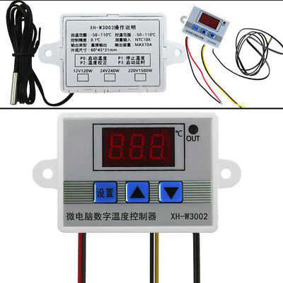 12V-220V Digital LED Temperature Controller 10A Thermostat Control Switch Probe