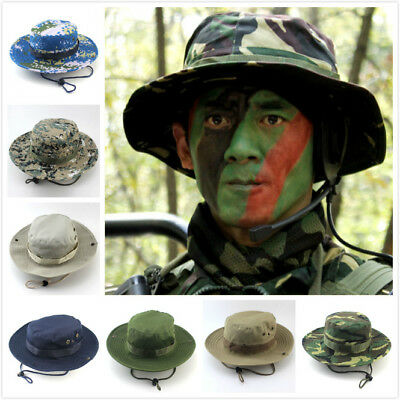 3b0d2c83c29ae Outdoor Hunting Fishing Bucket Hat Boonie Wide Brim Sun Camo Military Cap  Unisex