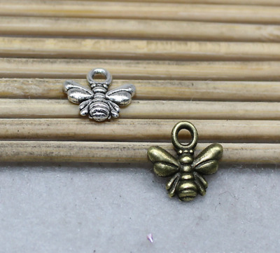 4PCS Antiqued Silver Vintage Alloy Hollow Insect Bee  Pendant Charms 08399