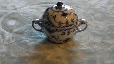 ROYAL COPENHAGEN BLUE FLUTED HALF LACE SUGAR BOWL w Lid, #691, 1st Quality