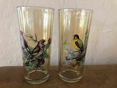 2- BEAUTIFUL VINTAGE BIRDS DRINKING GLASS TUMBLER Ribbed Texture